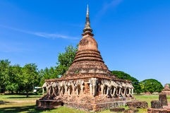 Stupa with elephant sculptures in Sukhotai, Thailand Stock Image