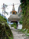 Stupa entrance to Talekhu from Chame, Nepal royalty free stock image