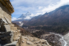 Stupa in front of Pangboche village, Everest region Stock Photos