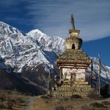 Stupa and Gangapurna Royalty Free Stock Images