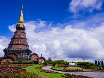 Stupa and garden on the top of Doi Inthanon, Thailand. Panoramic view of Stupa and garden on the top of Doi Inthanon, Thailand Stock Images