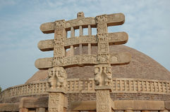 Stupa Gates in Sanchi. Ancient stupa in Sanchi (India,madhya pradesh state) early in the morning royalty free stock image