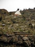Stupa grande en la ciudad Himalayan tradicional Marpha Foto de archivo libre de regalías