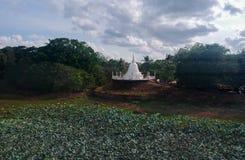 Stupa i świątynia z jeziorem w sri lance Fotografia Royalty Free