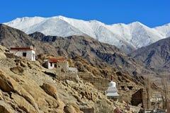 Stupa i den Shey slotten, Leh, Ladakh Arkivbilder
