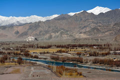 Stupa i den Shey slotten, Leh, Ladakh Arkivbild