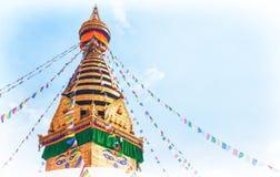 Stupa im Swayambhunath-Affetempel, Kathmandu, Nepal Lizenzfreies Stockbild