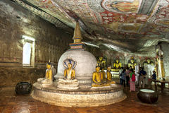 A stupa inside Cave Two (Maharaja Viharaya) at the Dambulla Cave Temples in central Sri Lanka. Stock Image