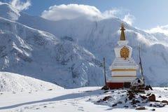 Stupa at Kicho Tal, Annapurna Circuit, Manang, Nepal. Stupa at Kicho Tal with Annapurna peaks on background, Annapurna Circuit, Manang, Nepal Stock Image