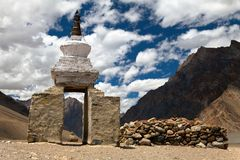 Stupa and mani wall around Pidmu village - Zanskar trek, Ladakh, India Royalty Free Stock Photo