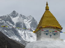 Stupa and mountain in Himalayas. royalty free stock photo