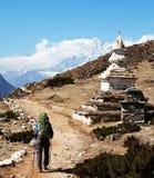 Stupa in mountains Royalty Free Stock Photo