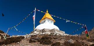 Stupa near Dingboche village with prayer flags Stock Photos