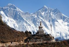 Stupa near Namche Bazar and Mount Everest and Lhots Stock Photography