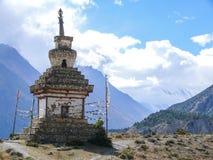 Lonely stupa under Annapurna mountain range Royalty Free Stock Image