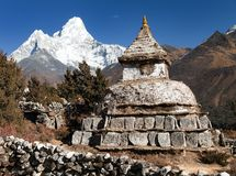 Stupa near Pangboche village with mount Ama Dablam. Way to mount Everest base camp - Khumbu valley - Nepal Royalty Free Stock Image