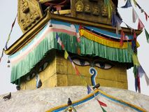 Stupa in Nepal Kathmandu Asia. Colorful Buddhist stupa in Kathmandu Nepal Aisa with birds on it. At monkey temple Royalty Free Stock Photo