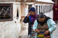 Stupa no identificado Boudhanath del círculo de los peregrinos Fotografía de archivo libre de regalías