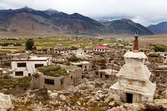 Stupa in Padum village Zanskar river and Padum monastery Royalty Free Stock Images