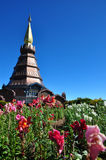 The Stupa Phra Mahathat Naphamethanidon. At Doi Inthanon, the highest mountain of Thailand, amidst a beautiful garden Royalty Free Stock Photo