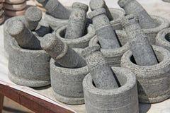 Stupa pour des épices de pierre grise de granit Inde de Stupa image stock