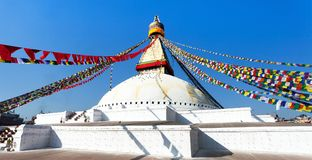 Stupa with prayer flags Stock Image