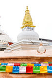 Stupa and prayer flags Royalty Free Stock Photo