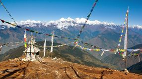 Stupa and prayer flags - Nepal Stock Image