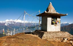 Stupa and prayer flags - Nepal Stock Photography