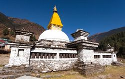 Stupa and prayer wheels in Junbesi village Stock Photography