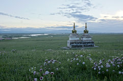 Stupa on the Qinghai grasslands Royalty Free Stock Images