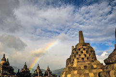 Stupa Rainbow Buddist temple Borobudur complex in Yogjakarta in Stock Images