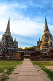 Stupa in the Ruined Temple at Ayutthaya. Ayutthaya pagodas in ancient temple Royalty Free Stock Photo