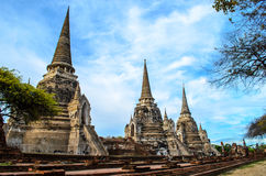 Stupa in the Ruined Temple at Ayutthaya. Ayutthaya pagodas in ancient temple Stock Photos