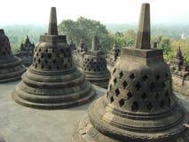 Stupa's at Bhuddist Borobudur temple. Java, Indonesia Royalty Free Stock Photos