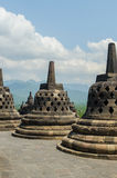 Stupa's at the Borobudur temple. In Yogyakarta, Indonesia royalty free stock photos