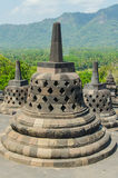 Stupa's at the Borobudur temple. In Yogyakarta, Indonesia stock photo
