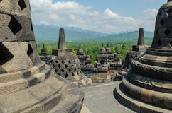 Stupa's at the Borobudur temple. In Yogyakarta, Indonesia stock photography