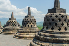 Stupa's at the Borobudur temple. In Yogyakarta, Indonesia stock photos
