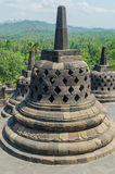 Stupa's at the Borobudur temple. In Yogyakarta, Indonesia stock image