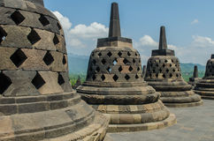Stupa's at the Borobudur temple. In Yogyakarta, Indonesia royalty free stock image