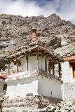 Stupa with sedimentary rock at the backdrop in the Hemis Monastery complex, Leh Royalty Free Stock Photo