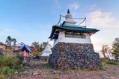 Stupa in Shad Tchup Ling Buddhist monastery on mountain Kachkanar. Russia Royalty Free Stock Photo
