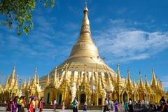 Stupa of the Shwedagon pagoda on a Sunny day. Yangon, Myanmar Stock Image
