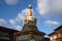 Stupa at square market in Shangri-la old town ,Yunnan,China. stock photos