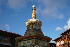 Stupa at square market in Shangri-la old town ,Yunnan,China.Time royalty free stock photo