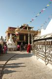 在尼泊尔stupa swayambhunath附近的加德满都 免版税库存图片