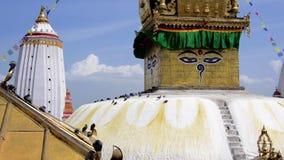 stupa του Κατμαντού swayambhunath απόθεμα βίντεο
