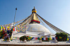 Stupa Swayambhunath in the Kathmandu, Nepal. The famous buuha eye gazing out sleepily from each side of the tower are those of the all seeing primordial buddha Stock Photography