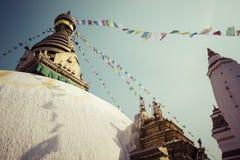 Stupa in Swayambhunath Monkey temple in Kathmandu, Nepal. Royalty Free Stock Photos